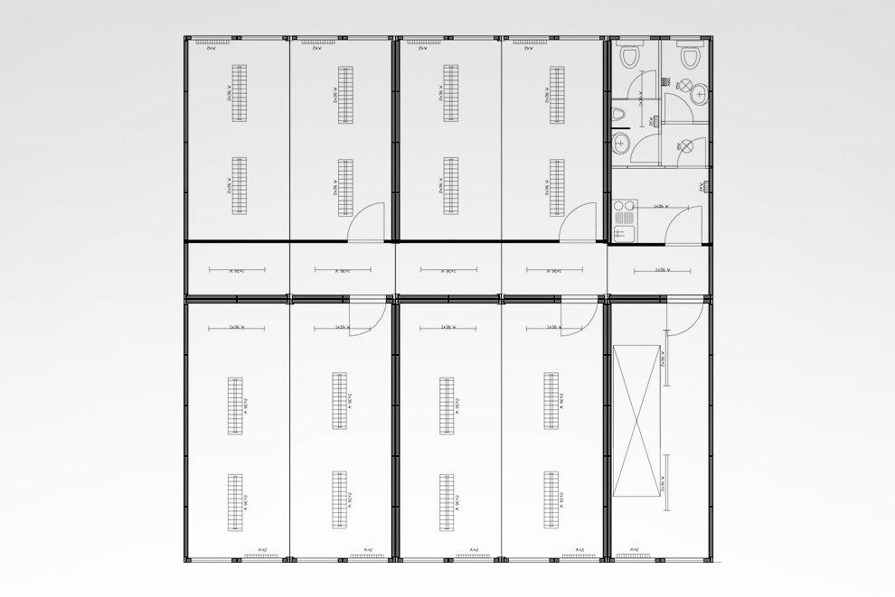 Containeranlage mit Treppenhaus und WC